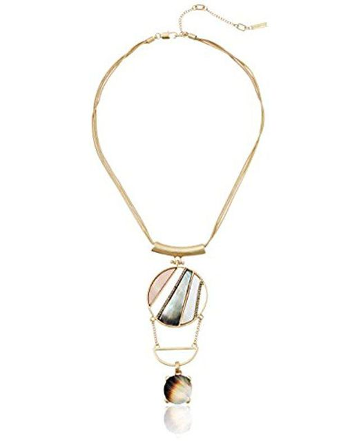 """Kenneth Cole - Metallic """"tectonic Plates"""" Pave Mixed Shell Geometric Disc Totem Pendant Necklace - Lyst"""