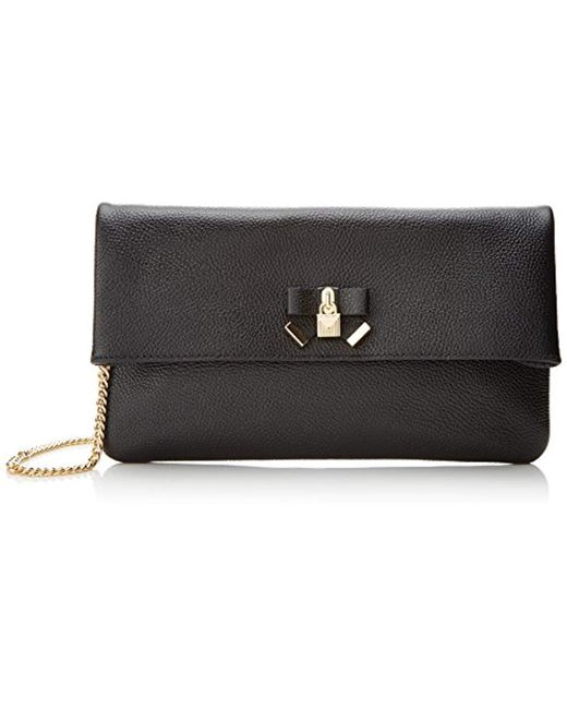 41e5426d5e61e Michael Kors - Michael By Everly Black Leather Fold Over Clutch - Lyst ...