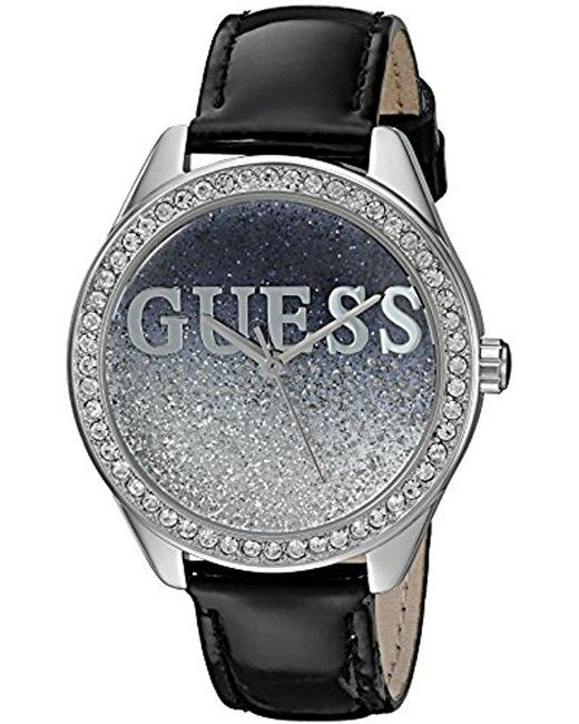 Guess - Metallic U0823l2 Trendy Silver-tone Watch With Black Dial , Crystal-accented Bezel And Genuine Leather Strap Buckle - Lyst