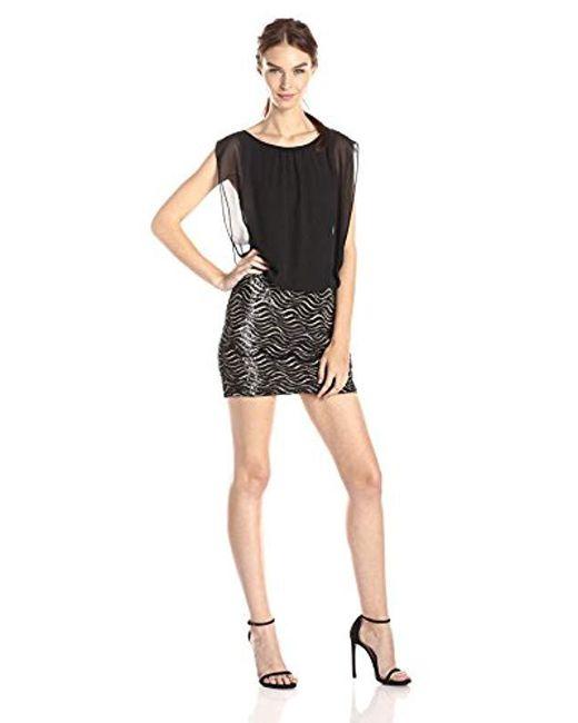 Aidan By Aidan Mattox - Black Sequin Wave Skirt With Blouson Bodice Dress - Lyst