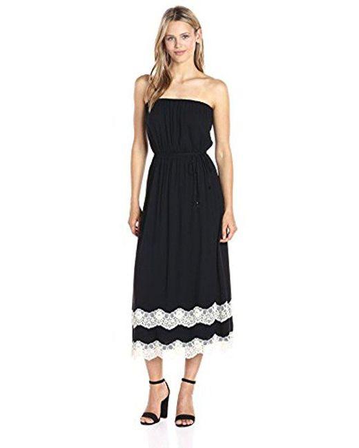 Ella Moss - Black Trinity Lace Strapless Dress - Lyst