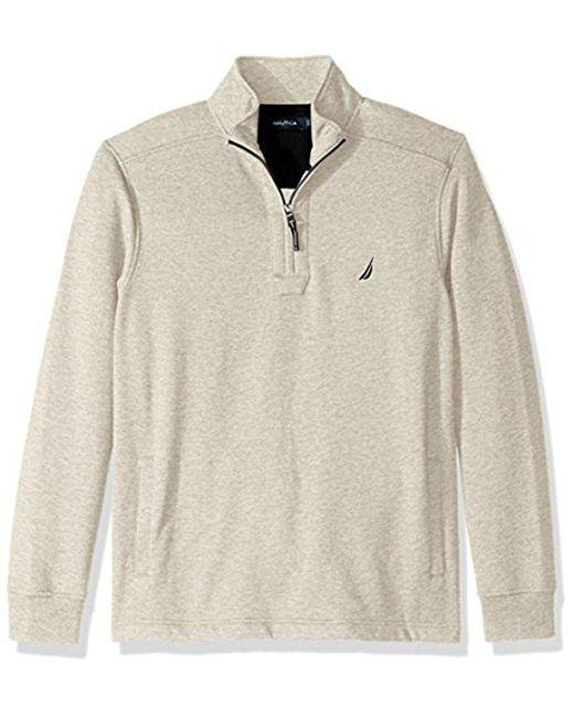 Nautica - Natural Quarter-zip Fleece Sweatshirt for Men - Lyst