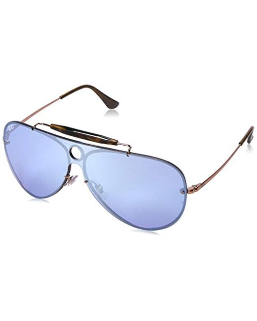 27b253a67e1 Ray-Ban - Black Blaze Shooter Sunglasses In Copper Silver Violet Mirror  Rb3581n 90351u 32 ...