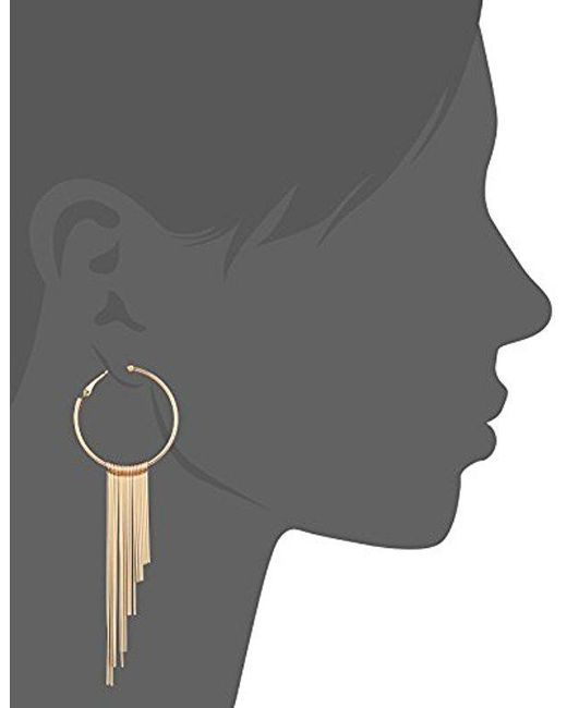 Guess - Metallic S Hoop Earrings With Stick Drops - Lyst