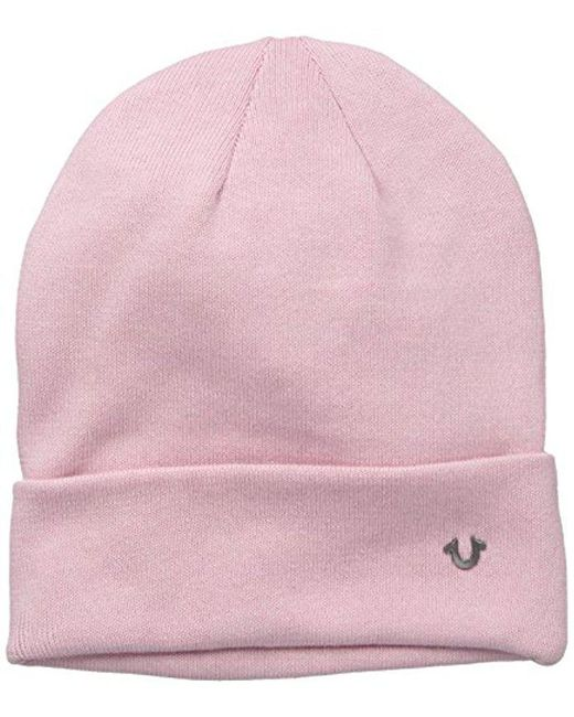 True Religion - Pink Acid Washed Flat Knit Watchcap for Men - Lyst