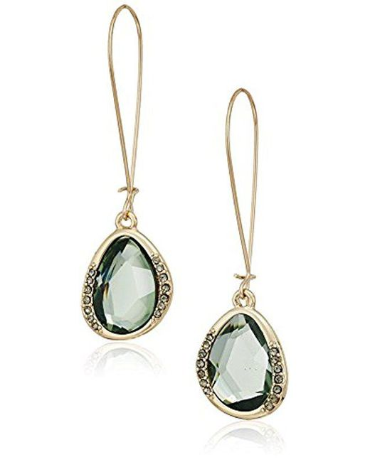 Kenneth Cole Tered Pave Gold Tone With Green Stone Drop Earrings Lyst