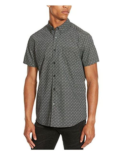 Kenneth Cole Reaction - Black Short Sleeve Faded Diamond Print Shirt for Men - Lyst
