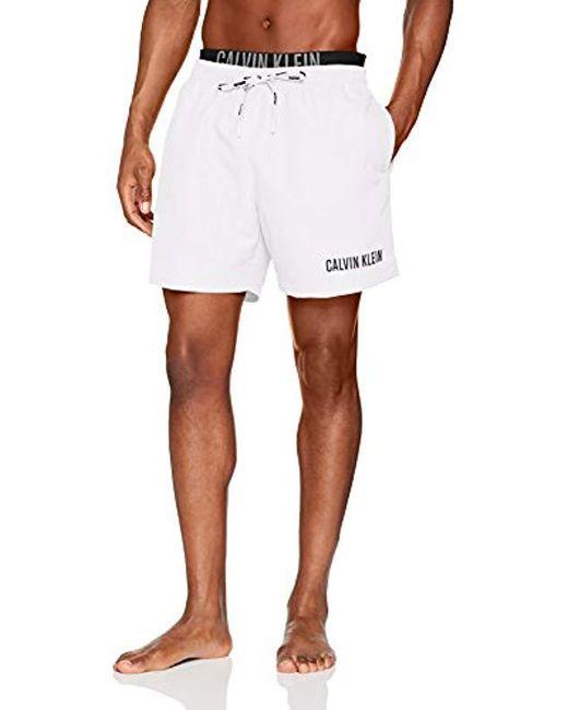 c16734c0e5 ... Calvin Klein - White Medium Double Wb Swim Trunks for Men - Lyst ...