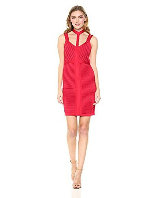 Guess - Red Sleeveless Tahsa Caged Slash Dress - Lyst