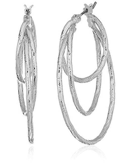 Anne Klein - Metallic Silver Tone Triple Ring Hoop Earrings - Lyst