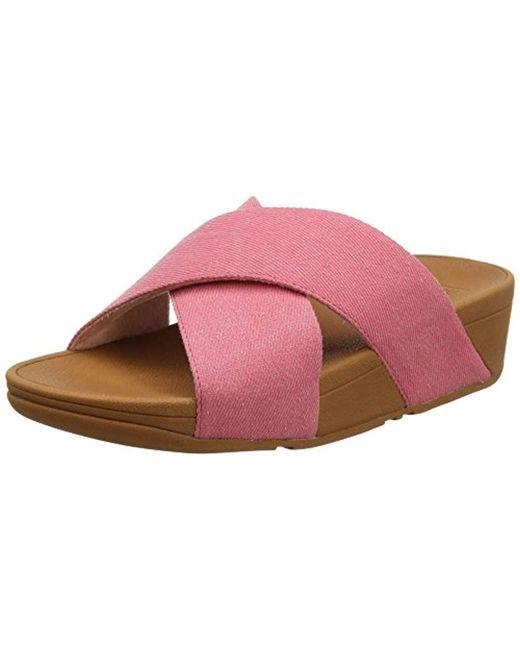 1b66223f0d29 Fitflop - Pink Lulu Cross Slide Sandals-shimmer-denim Open Toe - Lyst ...