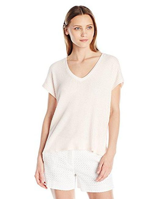 Velvet By Graham & Spencer - Pink Thermal Knit Shortsleeve Top - Lyst