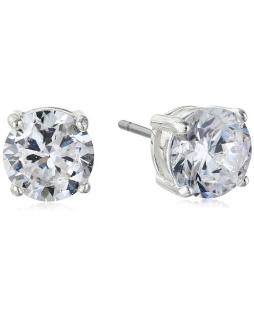 "Nine West - Metallic ""classics"" 7mm Cubic Zirconia Stud Earrings - Lyst"