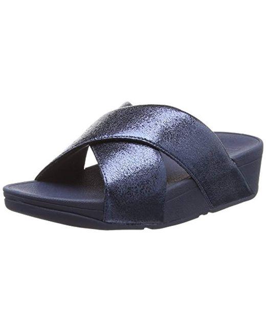 7890e52c7333 Fitflop - Blue   s Lulu Molten Metal Slide Open Toe Sandals - Lyst ...