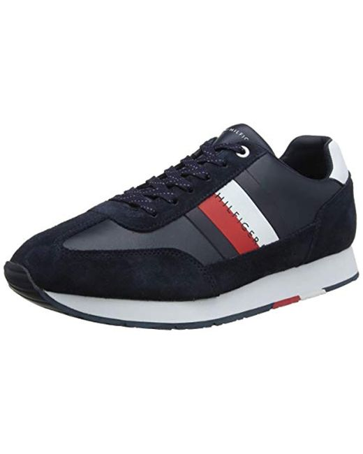 Tommy Hilfiger Blue Corporate Leather Flag Runner Low-top Sneakers for men