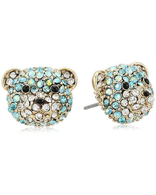 Betsey Johnson - Blue Teddy Bear Stud Earrings - Lyst