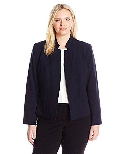 Nine West - Blue Plus Size Stretch Crepe Notch Collar Jacket - Lyst