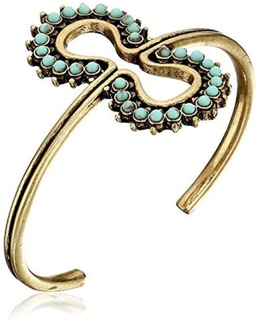 Lucky Brand - Metallic Turquoise Blossom Cuff Bracelet - Lyst