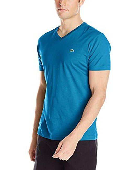 Lacoste - Blue Short Sleeve Jersey Pima V Neck T-shirt for Men - Lyst