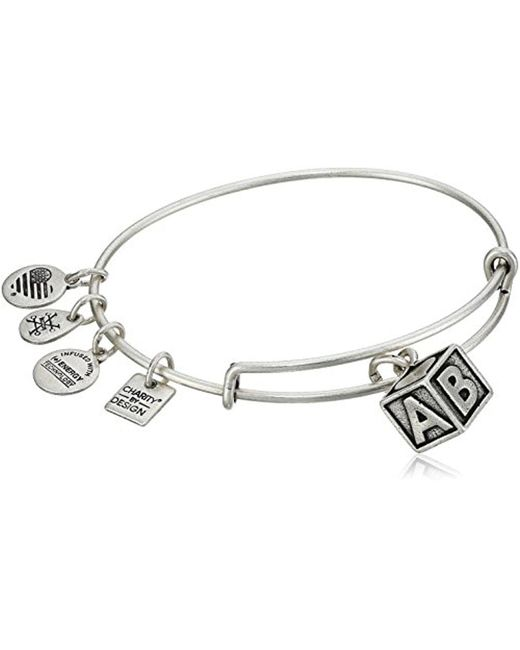 ALEX AND ANI - Metallic Charity By Design Baby Block Bangle Bracelet - Lyst