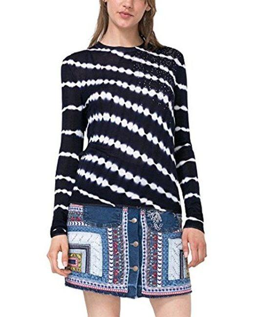 Desigual - Blue Elian Flat Knitted Thin Gauge Pullover - Lyst