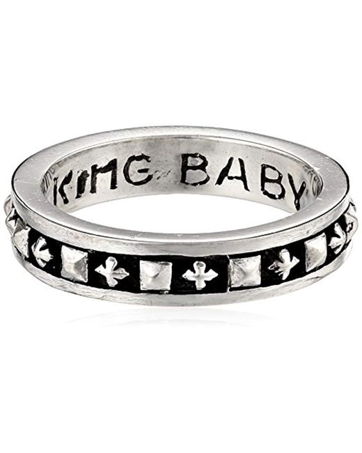 King Baby Studio - Metallic Stackable Studded Ring With Mb Crosses for Men - Lyst
