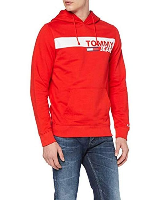 34bb9645 Tommy Hilfiger - Red 's Tjm Essential Graphic Hoodie for Men - Lyst ...
