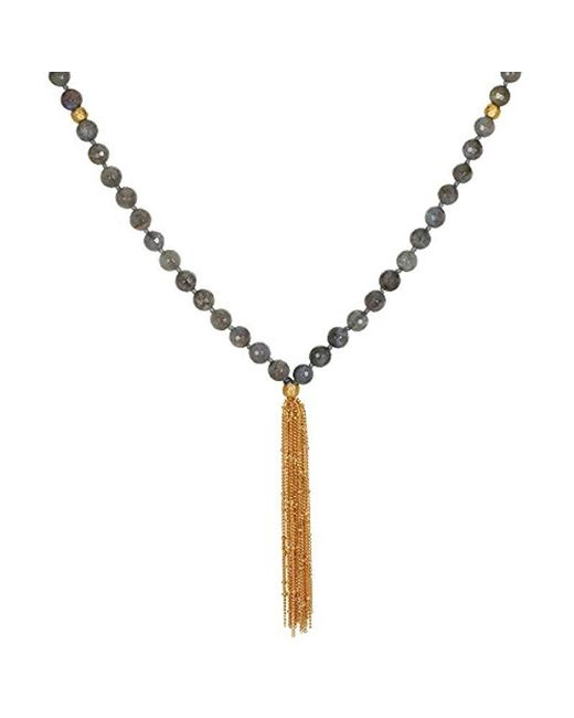 "Satya Jewelry - Gray Labradorite Gold Plate Lotus Chain Tassel Mala Necklace, 36"" - Lyst"
