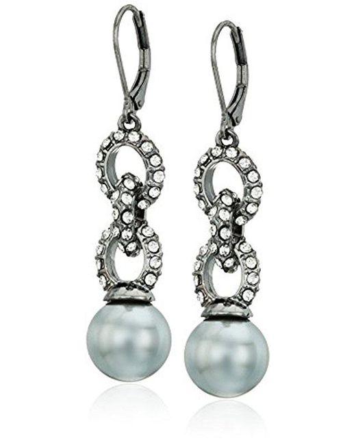 Anne Klein - Multicolor Hematite-tone Pearl And Black Diamond Double Drop Earrings - Lyst