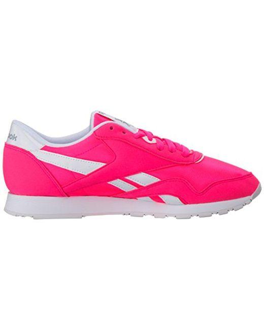 f354fd94255f3 Lyst - Reebok Cl Nylon Brights Sneaker in Pink - Save 52%