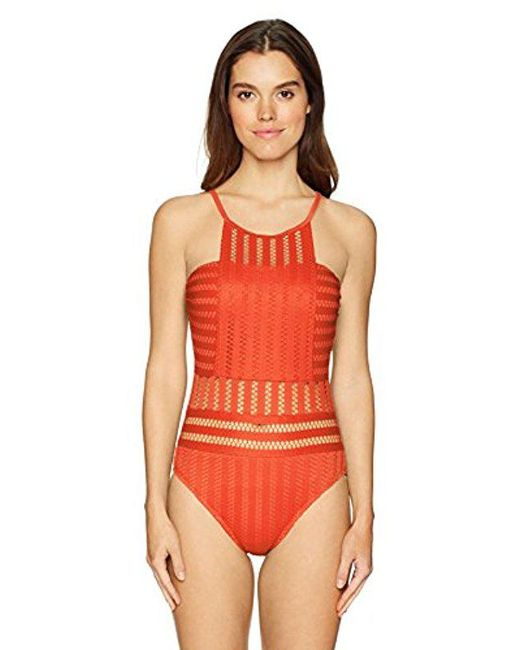 Kenneth Cole Red High Neck Crochet One Piece Swimsuit Lyst