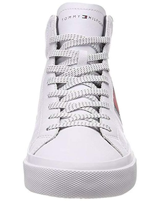 6e33e225f251 ... Tommy Hilfiger - White Flag Detail High Leather Sneaker Hi-top Trainers  for Men ...