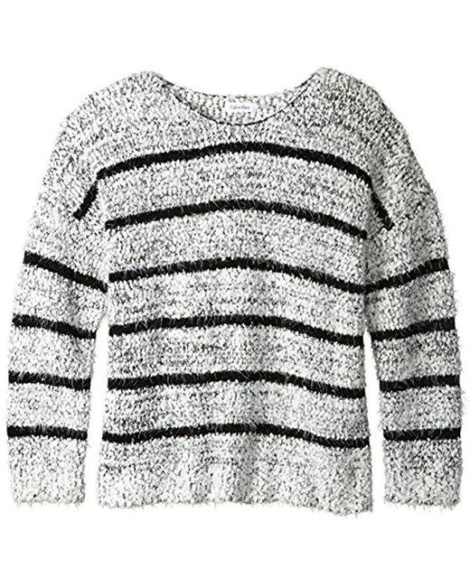 Calvin Klein - White Eyelash Striped Sweater - Lyst