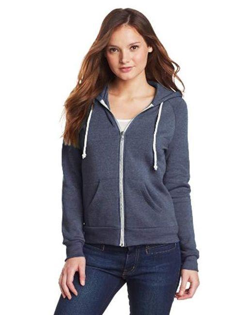Alternative Apparel - Blue Adrian Fleece Zip Front Hoodie Sweatshirt - Lyst