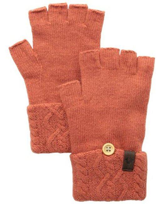 True Religion - Orange Cable Knit Fingerless Glove - Lyst
