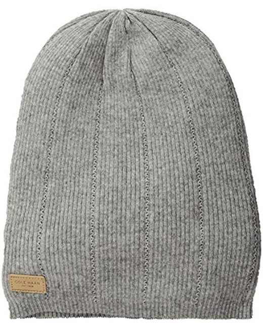 Cole Haan - Gray Rib Pointelle Slouchy Beanie - Lyst