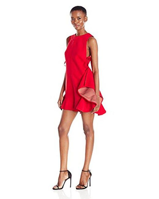 Kendall + Kylie - Red Flutter Lace Up Romper - Lyst
