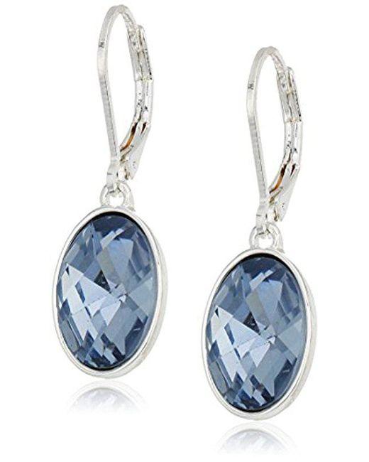 Nine West Blue Silver Tone Oval Drop Earrings Lyst