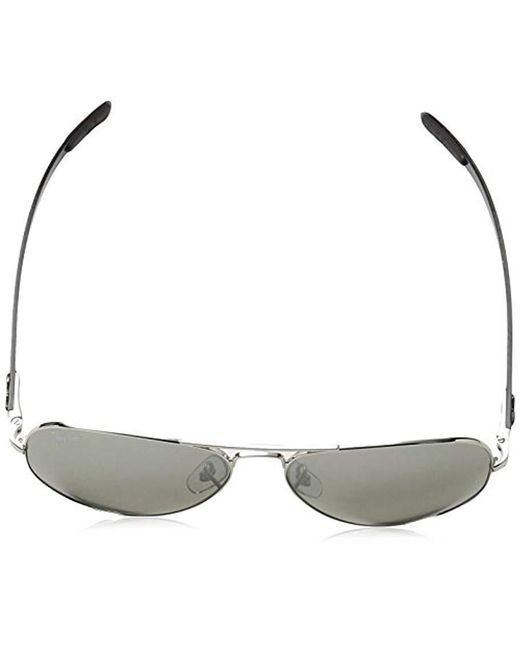 ab62a211d4c ... Ray-Ban - Black Chromance Aviator Sunglasses In Shiny Silver Gradient  Grey Mirror Polarised Rb8317ch ...