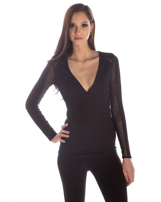 Sheri Bodell - Black Long Sleeve Deep V Top - Lyst