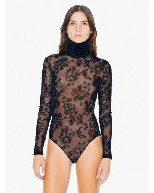 American Apparel Floral Sheer Mesh Turtleneck Long Sleeve
