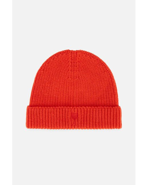 AMI - Red Ami De Coeur Embroidery Rib Beanie for Men - Lyst