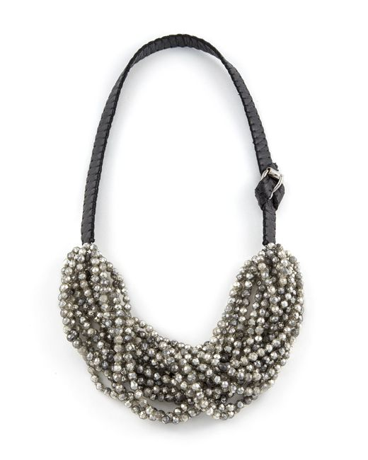 Jean-Francois Mimilla | Black Beaded Leather Necklace. | Lyst