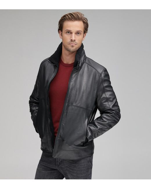 Andrew Marc - Black Trail Master Leather Motorcycle Jacket for Men - Lyst
