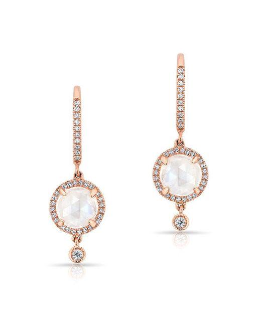 Anne Sisteron - Multicolor 14kt Rose Gold Diamond Moonstone Kennedy Wireback Earrings - Lyst