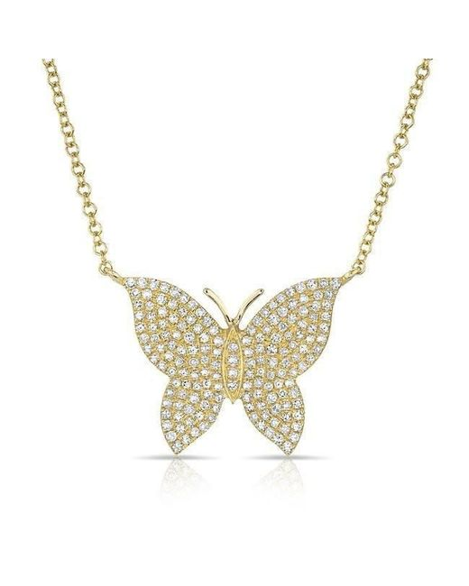 Anne Sisteron - Metallic 14kt Yellow Gold Pave Diamond Butterfly Necklace - Lyst