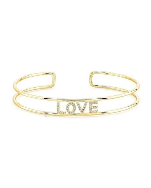Anne Sisteron | Metallic 14kt Yellow Gold Diamond Love Cuff | Lyst