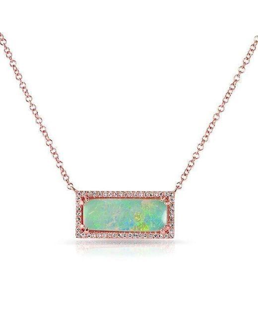 Anne Sisteron - 14kt Rose Gold Green Opal Diamond Block Necklace - Lyst