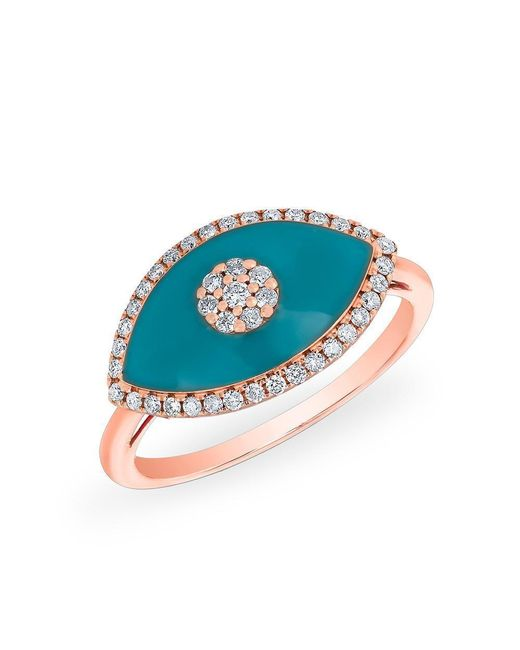 Anne Sisteron - Multicolor 14kt Rose Gold Diamond Turquoise Evil Eye Summer Ring - Lyst