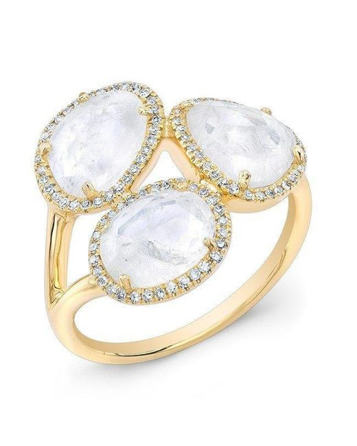 Anne Sisteron | Metallic 14kt Yellow Gold Moonstone Diamond Trinity Ring | Lyst